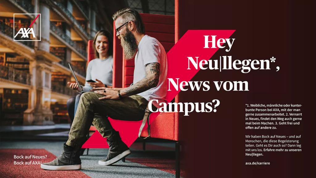 AXA Banner: Hey Neu|llegen, News vom Campus?