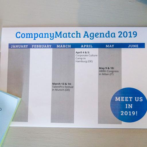 Where to meet CompanyMatch in 2019 – Our Agenda